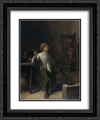 The Smoker 20x24 Black or Gold Ornate Framed and Double Matted Art Print by Adriaen Brouwer