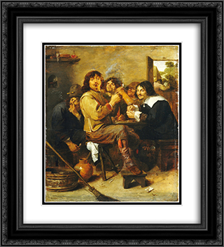 The Smokers 20x22 Black or Gold Ornate Framed and Double Matted Art Print by Adriaen Brouwer