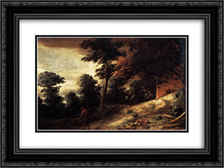 Twilight Landscape 24x18 Black or Gold Ornate Framed and Double Matted Art Print by Adriaen Brouwer