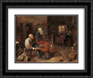 Village barbershop 24x20 Black or Gold Ornate Framed and Double Matted Art Print by Adriaen Brouwer