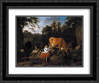 A Classical Landscape 24x20 Black or Gold Ornate Framed and Double Matted Art Print by Adriaen van de Velde