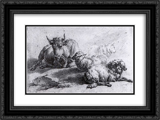 A Cow and Three Sheep 24x18 Black or Gold Ornate Framed and Double Matted Art Print by Adriaen van de Velde