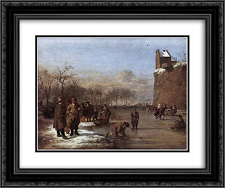 Amusement on the Ice 24x20 Black or Gold Ornate Framed and Double Matted Art Print by Adriaen van de Velde