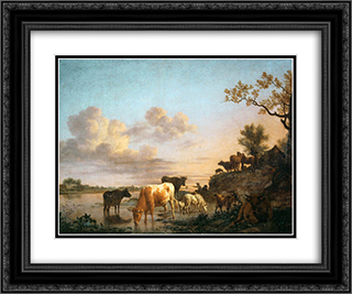 Animals by the River 24x20 Black or Gold Ornate Framed and Double Matted Art Print by Adriaen van de Velde