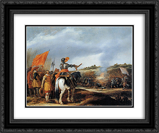 Battle 24x20 Black or Gold Ornate Framed and Double Matted Art Print by Adriaen van de Velde