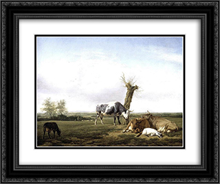Cattle and Goats in a Meadow 24x20 Black or Gold Ornate Framed and Double Matted Art Print by Adriaen van de Velde