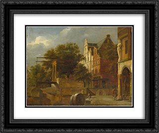 Cityscape with Drawbridge 24x20 Black or Gold Ornate Framed and Double Matted Art Print by Adriaen van de Velde