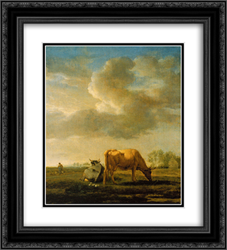 Cows on a Meadow 20x22 Black or Gold Ornate Framed and Double Matted Art Print by Adriaen van de Velde