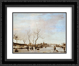 Frozen Canal with Skaters and Hockey Players 24x20 Black or Gold Ornate Framed and Double Matted Art Print by Adriaen van de Velde