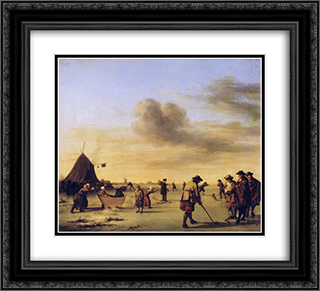Golfers on the Ice near Haarlem 22x20 Black or Gold Ornate Framed and Double Matted Art Print by Adriaen van de Velde