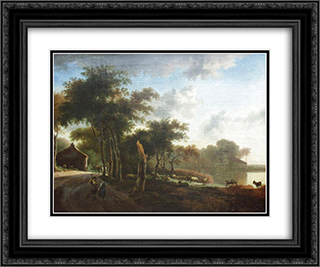 Landscape with shepherds 24x20 Black or Gold Ornate Framed and Double Matted Art Print by Adriaen van de Velde