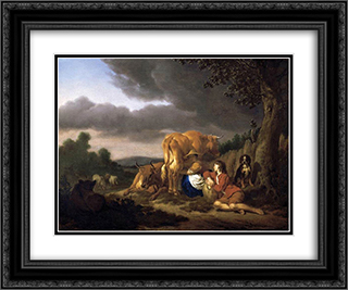 Milking a Cow 24x20 Black or Gold Ornate Framed and Double Matted Art Print by Adriaen van de Velde