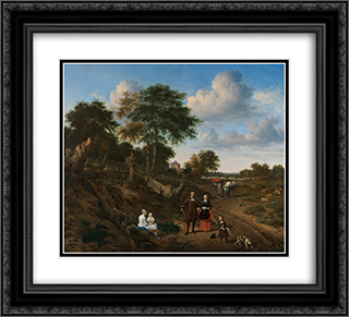 Portrait of a couple with two children and a nursemaid in a landscape 22x20 Black or Gold Ornate Framed and Double Matted Art Print by Adriaen van de Velde
