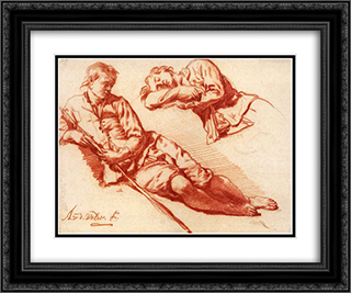 Reclining Herdsman 24x20 Black or Gold Ornate Framed and Double Matted Art Print by Adriaen van de Velde