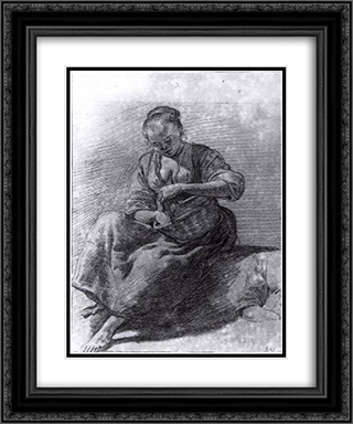 Seated Woman 20x24 Black or Gold Ornate Framed and Double Matted Art Print by Adriaen van de Velde