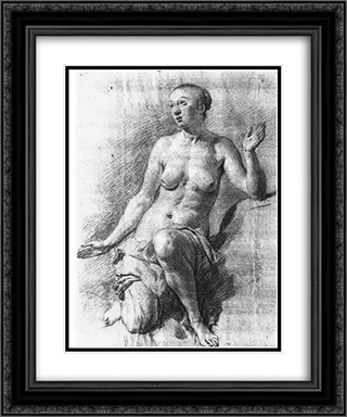 Study of a Female Nude 20x24 Black or Gold Ornate Framed and Double Matted Art Print by Adriaen van de Velde
