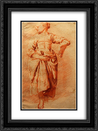 Study of a Woman in Peasant Dress 18x24 Black or Gold Ornate Framed and Double Matted Art Print by Adriaen van de Velde