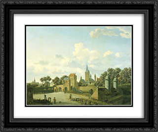 The church of St. Severin in Cologne in a fictive setting 24x20 Black or Gold Ornate Framed and Double Matted Art Print by Adriaen van de Velde