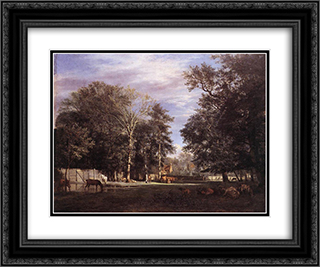 The Farm 24x20 Black or Gold Ornate Framed and Double Matted Art Print by Adriaen van de Velde