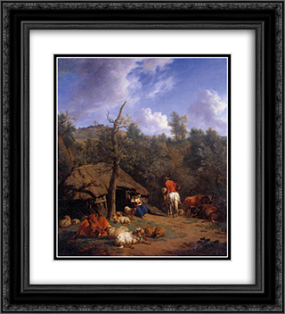 The Hut 20x22 Black or Gold Ornate Framed and Double Matted Art Print by Adriaen van de Velde