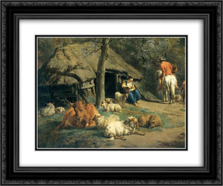 The Hut (detail) 24x20 Black or Gold Ornate Framed and Double Matted Art Print by Adriaen van de Velde