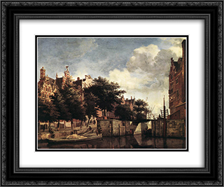The Martelaarsgracht in Amsterdam 24x20 Black or Gold Ornate Framed and Double Matted Art Print by Adriaen van de Velde