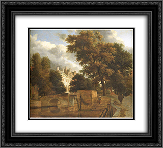 The stone bridge 22x20 Black or Gold Ornate Framed and Double Matted Art Print by Adriaen van de Velde