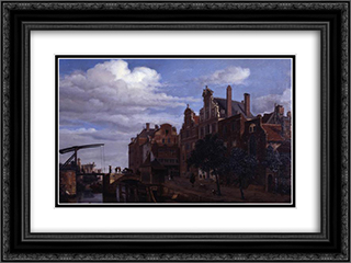 View in Amsterdam 24x18 Black or Gold Ornate Framed and Double Matted Art Print by Adriaen van de Velde