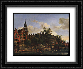 View of Oudezijds Voorburgwal with the Oude Kerk in Amsterdam 24x20 Black or Gold Ornate Framed and Double Matted Art Print by Adriaen van de Velde