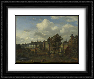 View of the ancient castle of the Dukes of Burgundy in Brussels 24x20 Black or Gold Ornate Framed and Double Matted Art Print by Adriaen van de Velde