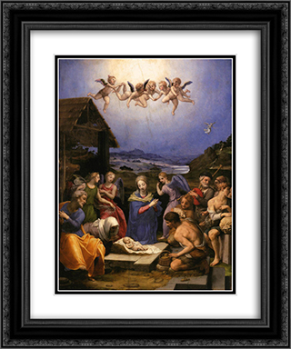 Adoration of the Shepherds 20x24 Black or Gold Ornate Framed and Double Matted Art Print by Agnolo Bronzino