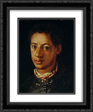 Alessandro de' Medici 20x24 Black or Gold Ornate Framed and Double Matted Art Print by Agnolo Bronzino
