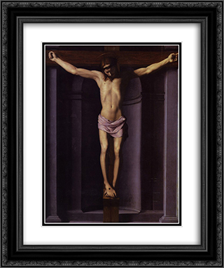 Christ on the Cross 20x24 Black or Gold Ornate Framed and Double Matted Art Print by Agnolo Bronzino