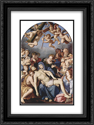 Deposition from the Cross 18x24 Black or Gold Ornate Framed and Double Matted Art Print by Agnolo Bronzino