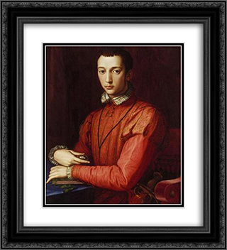 Francesco I de' Medici, Grand Duke of Tuscany 20x22 Black or Gold Ornate Framed and Double Matted Art Print by Agnolo Bronzino
