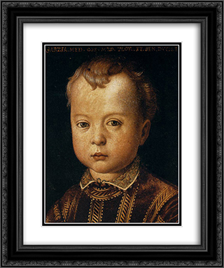 Garcia de' Medici 20x24 Black or Gold Ornate Framed and Double Matted Art Print by Agnolo Bronzino