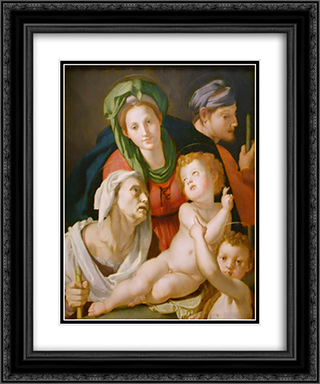 Holy Family 20x24 Black or Gold Ornate Framed and Double Matted Art Print by Agnolo Bronzino