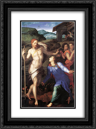 Noli me tangere 18x24 Black or Gold Ornate Framed and Double Matted Art Print by Agnolo Bronzino
