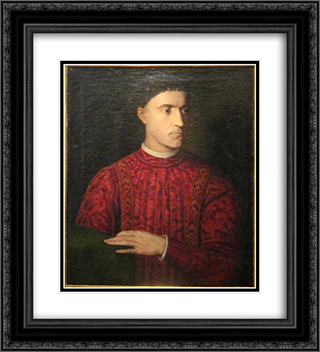 Pietro de' Medici 20x22 Black or Gold Ornate Framed and Double Matted Art Print by Agnolo Bronzino