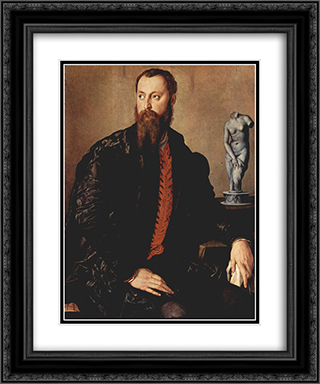 Portrait of a gentleman 20x24 Black or Gold Ornate Framed and Double Matted Art Print by Agnolo Bronzino