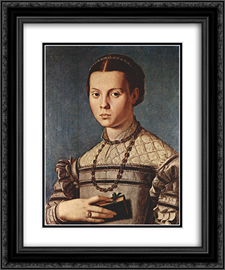 Portrait of a girl with book 20x24 Black or Gold Ornate Framed and Double Matted Art Print by Agnolo Bronzino
