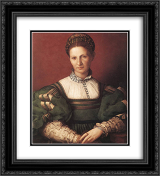 Portrait of a lady in green 20x22 Black or Gold Ornate Framed and Double Matted Art Print by Agnolo Bronzino