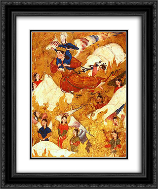 Archangel Gabriel carries the Prophet Muhammad over the mountains 20x24 Black or Gold Ornate Framed and Double Matted Art Print by Ahmad Musa