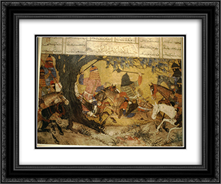 Ardashir fights Bahman 24x20 Black or Gold Ornate Framed and Double Matted Art Print by Ahmad Musa