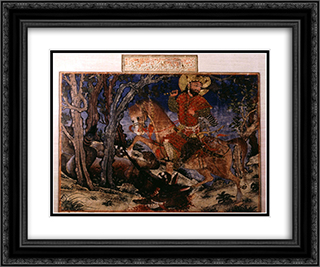 Bahram Gur kills the wolf 24x20 Black or Gold Ornate Framed and Double Matted Art Print by Ahmad Musa