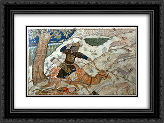 Bahram Gur tramples Azadeh 24x18 Black or Gold Ornate Framed and Double Matted Art Print by Ahmad Musa