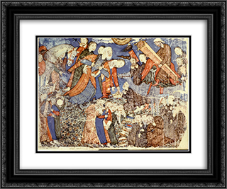 Faridun sees Iraj's coffin 24x20 Black or Gold Ornate Framed and Double Matted Art Print by Ahmad Musa