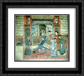 Isfandiyar approaches Gushtasp 22x20 Black or Gold Ornate Framed and Double Matted Art Print by Ahmad Musa