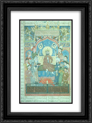 Iskandar enthroned 18x24 Black or Gold Ornate Framed and Double Matted Art Print by Ahmad Musa