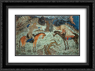 Rustam kills Istendiyar 24x18 Black or Gold Ornate Framed and Double Matted Art Print by Ahmad Musa